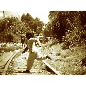kid across railway line